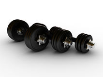 Dumbbells in fitness center stock images