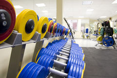 Dumbbells in fitness club Stock Photo