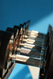 Dumbbells in fitness romm Royalty Free Stock Photography
