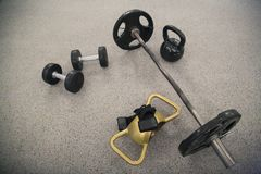 GYM Fytness black Dumbbell workout stock photos