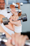 Dumbbells in gym Stock Image