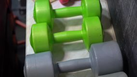 Dumbbells in gym. Fitness sports concept stock video footage