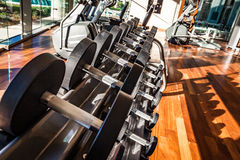 Dumbbells in the gym. Gym interior with equipment Royalty Free Stock Images