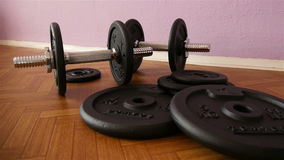 Dumbbells in Gym - Muscle Training stock video footage