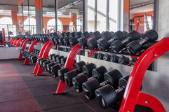 Dumbbells in the gym Stock Photos