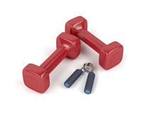 Dumbbells and hand gripper Stock Images