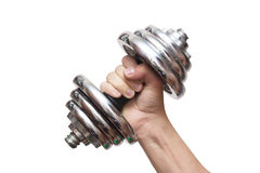 Dumbbells in hand Royalty Free Stock Photos