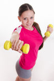 Dumbbells in the hands of athletes Royalty Free Stock Images