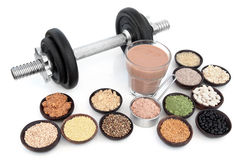 Dumbbells and Health Food Royalty Free Stock Photo