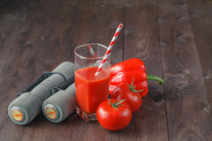 Dumbbells and healthy food, fitness and dieting, free copy space Stock Image