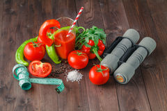 Dumbbells and healthy food, fitness and dieting, free copy space Royalty Free Stock Photos