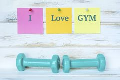 Dumbbells and I Love Gym Notes. Green dumbbells and Sticky Notes .Fitness Concept with Motivational Quote stock photos