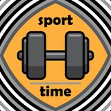 Healthy lifestyle concept. Sport time. Icon in a flat style. Dumbbell. Vector illustration. Eps 10. royalty free illustration