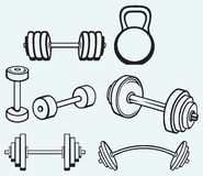 Dumbbells icons Stock Photos