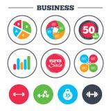 Dumbbells icons. Fitness sport symbols. Royalty Free Stock Photo