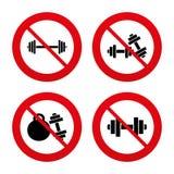 Dumbbells icons. Fitness sport symbols Royalty Free Stock Photo