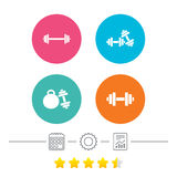Dumbbells icons. Fitness sport symbols. Stock Image