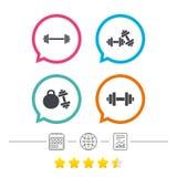 Dumbbells icons. Fitness sport symbols. Royalty Free Stock Image