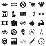 Dumbbells icons set, simple style. Dumbbells icons set. Simple set of 25 dumbbells vector icons for web isolated on white background Royalty Free Stock Images
