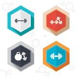 Dumbbells ikony Sprawność fizyczna sporta symbole Zdjęcia Royalty Free