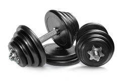 Dumbbells isolados no branco Fotos de Stock