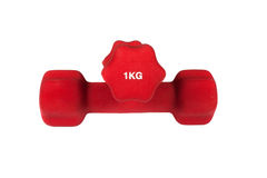 Dumbbells on isolated background. Two red dumbbells on isolated background Royalty Free Stock Photography
