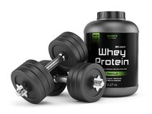 Dumbbells and jar of protein. Dumbbells and jar of whey protein isolated on white background. Sports nutrition, bodybuilding supplements, gym, bodybuilding stock illustration
