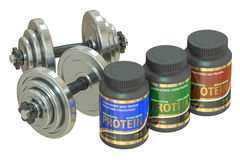 Dumbbells and jars of protein Royalty Free Stock Photos
