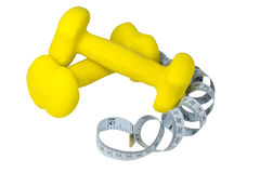 Dumbbells and meter Royalty Free Stock Photography