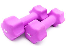 Dumbbells in a neoprene cover.Close up Stock Photography