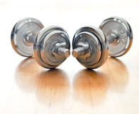 Dumbbells no assoalho Foto de Stock