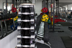 Dumbbells and other sport's equipments Royalty Free Stock Photo