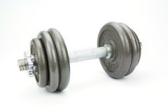 Dumbbells over white background. Isolated Stock Images