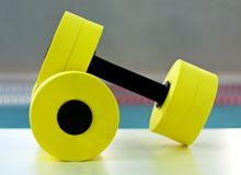 Dumbbells para o aerobics do aqua Fotografia de Stock Royalty Free