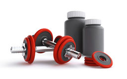 Dumbbells and protein containers Royalty Free Stock Photography