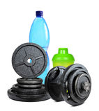 Dumbbells with protein shaker Royalty Free Stock Photo