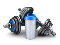 Dumbbells and protein. Dumbbells on white background (done in 3d Royalty Free Stock Image