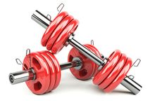 Dumbbells red Stock Images