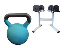 Dumbbells on the rest in a fitness hall Royalty Free Stock Photos