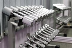 Dumbbells in a row Royalty Free Stock Photo