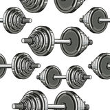 Dumbbells Seamless Pattern. Royalty Free Stock Images