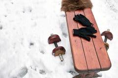 Dumbbells On Snow Stock Photos