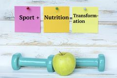 Dumbbells and Sport plus Nutrition is equal to Transformation. Green dumbbells and Sticky Notes .Fitness Concept with Motivational Quote royalty free stock photos