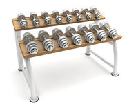 Dumbbells on stand Stock Images
