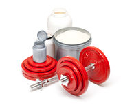 Dumbbells and supplements for body building Stock Photography