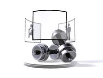 Dumbbells with symbols - customisable. A set of dumbbells with workout symbols with customisable plate to add your own symbol Royalty Free Stock Image
