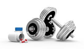 Dumbbells with vial of pills Royalty Free Stock Photography