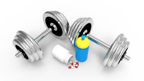 Dumbbells with vial of pills Stock Photography