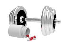 Dumbbells with vial of pills Royalty Free Stock Photos