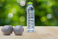 Dumbbells and water bottle side view on wooden floor on blurred bokeh background Royalty Free Stock Photos